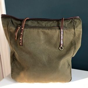 J. Crew Army Green Large Tote w/Leather Straps